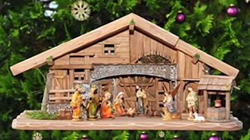 XL Weihnachtskrippe + Zubehör, Ausführung: massiv Vollholz Massivholz groß KOMPLETT mit Figuren UND Beleuchtungsset LED Laterne mit Lämpchen + Anschlussleiste + K70MFTL - 6
