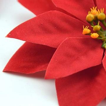 Yalulu 20 Stück Rot Flanell Künstliche Blumen Baum Blumenköpfe Ornament für Weihnachts Hochzeitsdekoration Scrapbooking DIY Dekoration - 2