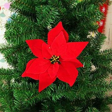 Yalulu 20 Stück Rot Flanell Künstliche Blumen Baum Blumenköpfe Ornament für Weihnachts Hochzeitsdekoration Scrapbooking DIY Dekoration - 3
