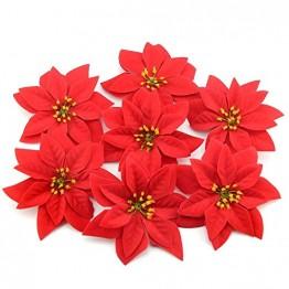 Yalulu 20 Stück Rot Flanell Künstliche Blumen Baum Blumenköpfe Ornament für Weihnachts Hochzeitsdekoration Scrapbooking DIY Dekoration - 1