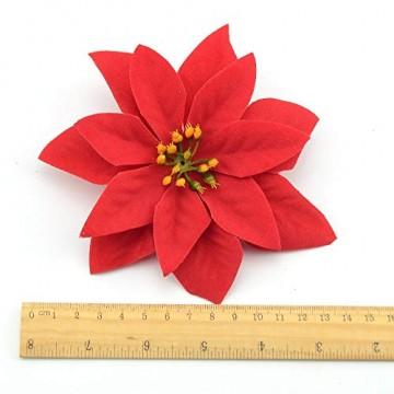 Yalulu 20 Stück Rot Flanell Künstliche Blumen Baum Blumenköpfe Ornament für Weihnachts Hochzeitsdekoration Scrapbooking DIY Dekoration - 4