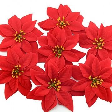 Yalulu 20 Stück Rot Flanell Künstliche Blumen Baum Blumenköpfe Ornament für Weihnachts Hochzeitsdekoration Scrapbooking DIY Dekoration - 5