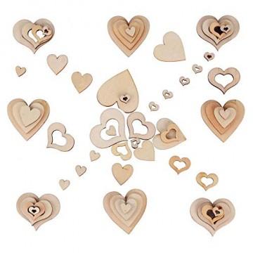 YANSHON 400 STK Holzscheiben Deko zum Basteln Holzscheiben Herz klein Holzherz Dekoration Streu Deko Tischdeko Verzierungen für DIY Handwerk Hochzeit Weihnachten Geburtstag Taufe Herzen - 3