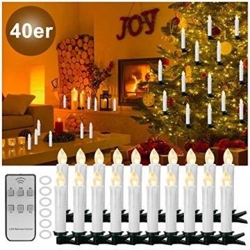 YAOBLUESEA 40stk Weinachten LED Kerzen Lichterkette Kabellos Weihnachtskerzen Christbaumschmuck Weihnachtsbaumbeleuchtung mit Fernbedienung Kabellos für Weihnachtsbaum Weihnachtsdeko Hochzeit - 1
