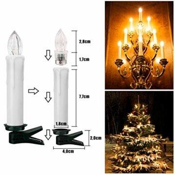 YAOBLUESEA 40stk Weinachten LED Kerzen Lichterkette Kabellos Weihnachtskerzen Christbaumschmuck Weihnachtsbaumbeleuchtung mit Fernbedienung Kabellos für Weihnachtsbaum Weihnachtsdeko Hochzeit - 6