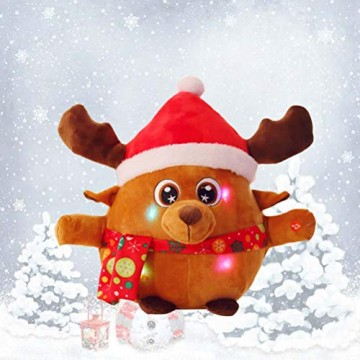 YeahiBaby Elch singendes Spielzeug mit Licht, Weihnachtsfigur aus Plüsch (mit Knopfbatterie) - 3