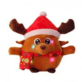 YeahiBaby Elch singendes Spielzeug mit Licht, Weihnachtsfigur aus Plüsch (mit Knopfbatterie) - 1