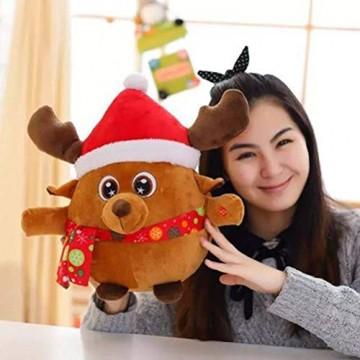 YeahiBaby Elch singendes Spielzeug mit Licht, Weihnachtsfigur aus Plüsch (mit Knopfbatterie) - 5