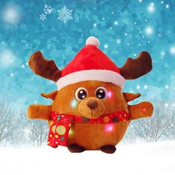 YeahiBaby Elch singendes Spielzeug mit Licht, Weihnachtsfigur aus Plüsch (mit Knopfbatterie) - 6