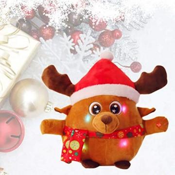 YeahiBaby Elch singendes Spielzeug mit Licht, Weihnachtsfigur aus Plüsch (mit Knopfbatterie) - 7