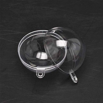 Yeelan Klar Kunststoff Acryl Fillable Transparent Ball Ornament Kugel Kugel für Hochzeit Weihnachten Home Decor (60mm Set 12 Stücke) - 3