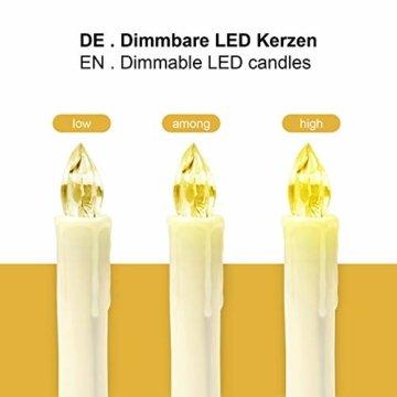 Yorbay 20er kabellose LED Kerzen Weihnachtsdeko IP64 wasserdicht RGB&Warmweiß mit Batterien, Dimmbar mit Fernbedienung und Timerfunktion, als Dekoration für Weihnachten, Weihnachtsbaum (Mehrweg) - 4