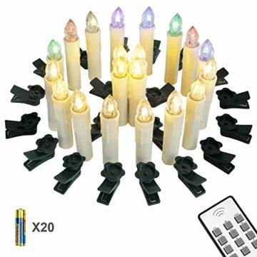 Yorbay 20er kabellose LED Kerzen Weihnachtsdeko IP64 wasserdicht RGB&Warmweiß mit Batterien, Dimmbar mit Fernbedienung und Timerfunktion, als Dekoration für Weihnachten, Weihnachtsbaum (Mehrweg) - 1