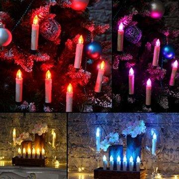 Yorbay 20er kabellose LED Kerzen Weihnachtsdeko IP64 wasserdicht RGB&Warmweiß mit Batterien, Dimmbar mit Fernbedienung und Timerfunktion, als Dekoration für Weihnachten, Weihnachtsbaum (Mehrweg) - 7