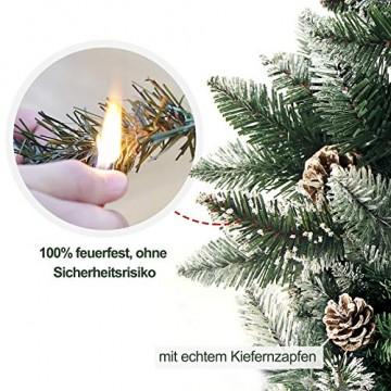 Yorbay Weihnachtsbaum Tannenbaum mit Ständer 120cm-240cm für Weihnachten-Dekoration Mehrweg (Weihnachtsbaum mit Schnee, 180cm) - 3