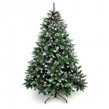 Yorbay Weihnachtsbaum Tannenbaum mit Ständer 120cm-240cm für Weihnachten-Dekoration Mehrweg (Weihnachtsbaum mit Schnee, 180cm) - 1
