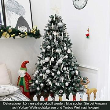 Yorbay Weihnachtsbaum Tannenbaum mit Ständer 120cm-240cm für Weihnachten-Dekoration Mehrweg (Weihnachtsbaum mit Schnee, 180cm) - 5
