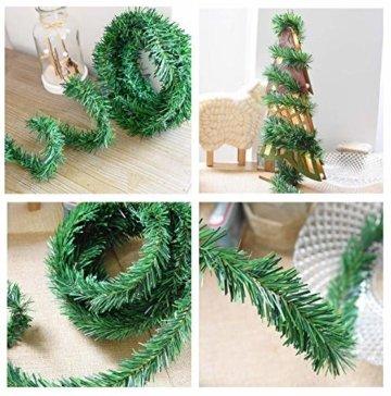 YQing 2 Stück 5.5 m Tannengirlande aus Kunststoff Grün Weihnachtsgirland Weihnachten Girlande, Weihnachtsdeko Türkranz Weihnachten Garland - 3