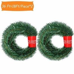 YQing 2 Stück 5.5 m Tannengirlande aus Kunststoff Grün Weihnachtsgirland Weihnachten Girlande, Weihnachtsdeko Türkranz Weihnachten Garland - 1