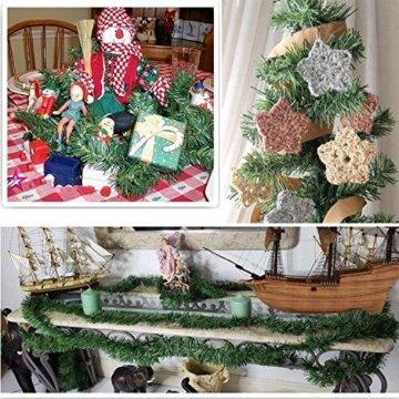 YQing 2 Stück 5.5 m Tannengirlande aus Kunststoff Grün Weihnachtsgirland Weihnachten Girlande, Weihnachtsdeko Türkranz Weihnachten Garland - 6