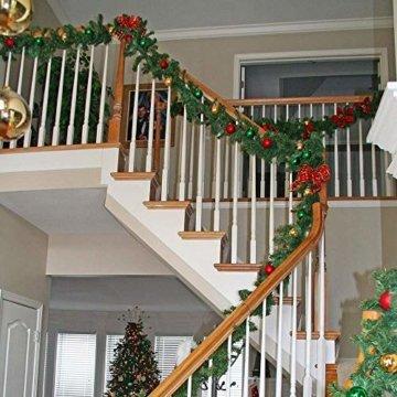 YQing 2 Stück 5.5 m Tannengirlande aus Kunststoff Grün Weihnachtsgirland Weihnachten Girlande, Weihnachtsdeko Türkranz Weihnachten Garland - 7