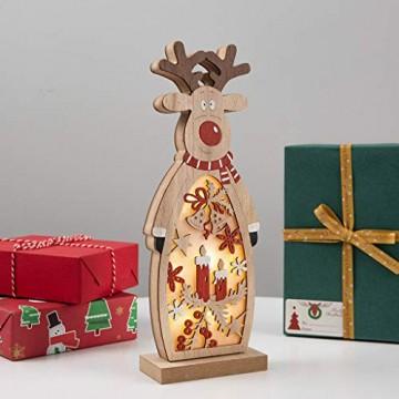 Zegeey Weihnachtsschmuck Weihnachtsdeko Holz LED beleuchtet Elch Schneemann Nachttischlampe Basteln 1 Stück(B,26.5x9.8x5cm) - 2