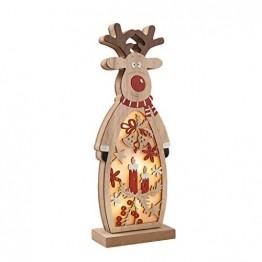 Zegeey Weihnachtsschmuck Weihnachtsdeko Holz LED beleuchtet Elch Schneemann Nachttischlampe Basteln 1 Stück(B,26.5x9.8x5cm) - 1