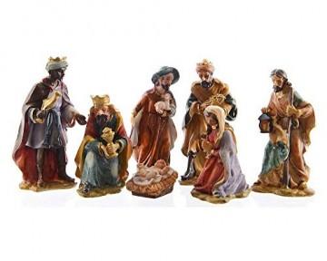 zeitzone Wunderschöne Krippenfiguren Weihnachten Set 7 teilig Handbemalt - 1