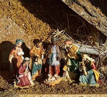 zeitzone Wunderschöne Krippenfiguren Weihnachten Set 7 teilig Handbemalt - 2