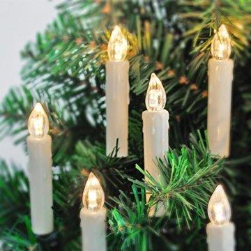 20er LED Kerzen mit Batterien, Timer und Fernbedienung, IP64 Dimmbar Kerzenlichter Flammenlose Weihnachtskerzen für Weihnachtsbaum, Weihnachtsdeko, Hochzeit, Geburtstags, Party - 6