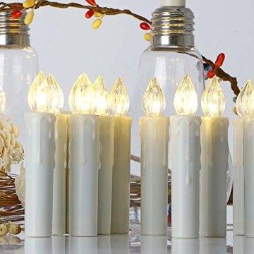 20er LED Kerzen mit Timer, Fernbedienung und Batterien, IP64 Dimmbar Kerzenlichter Flammenlose Weihnachtskerzen für Weihnachtsbaum, Weihnachtsdeko, Hochzeit, Geburtstags, Party-Warmes Weiß - 3