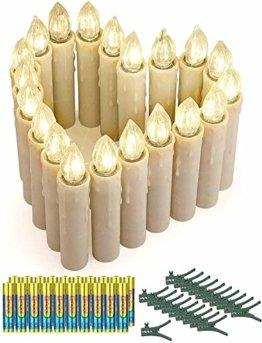 20er LED Kerzen mit Timer, Fernbedienung und Batterien, IP64 Dimmbar Kerzenlichter Flammenlose Weihnachtskerzen für Weihnachtsbaum, Weihnachtsdeko, Hochzeit, Geburtstags, Party-Warmes Weiß - 1