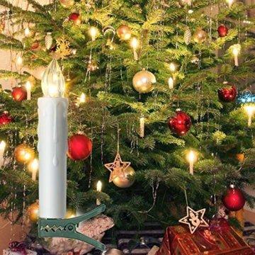 20er LED Kerzen mit Timer, Fernbedienung und Batterien, IP64 Dimmbar Kerzenlichter Flammenlose Weihnachtskerzen für Weihnachtsbaum, Weihnachtsdeko, Hochzeit, Geburtstags, Party-Warmes Weiß - 4