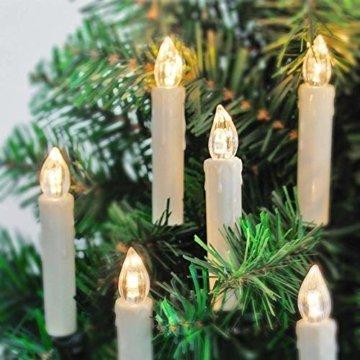 20er LED Kerzen mit Timer, Fernbedienung und Batterien, IP64 Dimmbar Kerzenlichter Flammenlose Weihnachtskerzen für Weihnachtsbaum, Weihnachtsdeko, Hochzeit, Geburtstags, Party-Warmes Weiß - 5
