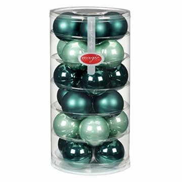 24 Christbaumkugeln Glas 6cm // Weihnachtskugeln Weihnachtsschmuck Weihnachtsdeko Baumkugeln Baumschmuck Christbaumschmuck Kugeln Glaskugeln Dose, Farbe: Green Emerald (Mint dunkel türkis meerblau) - 1