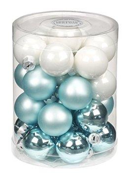 28 Christbaumkugeln Glas 3cm // Weihnachtskugeln Baumkugeln Baumschmuck Christbaumschmuck Weihnachtsdeko Kugeln Glaskugeln Spiegelbeeren Dose, Farbe: Cool Mint (Mint grün weiß) - 1
