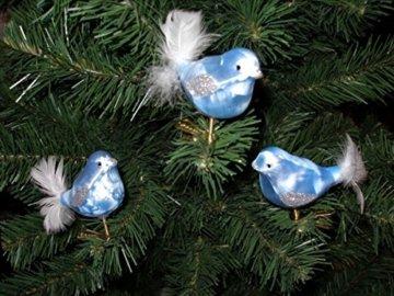 """3 tlg. Glas Vogel Set in""""Ice Blau Silber"""" - Christbaumkugeln - Weihnachtsschmuck-Christbaumschmuck - 1"""