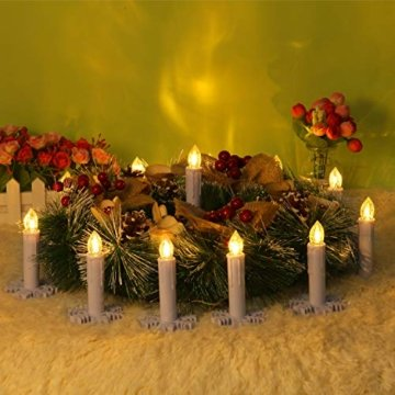 30er LED Kerzen mit Batterien Halter Fernbedienung Timer IP64 Dimmbar warmweiß Weihnachtskerzen Lichterkette Fenster Beleuchtung für Weihnachtsbaum Hochzeit Geburtstags Kirche Deko, beige - 2