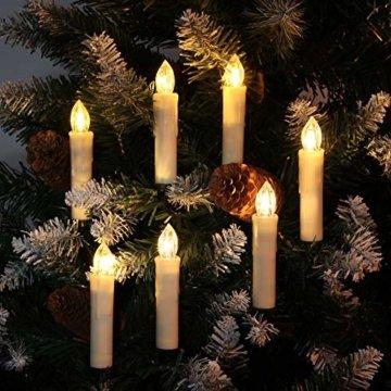 30er LED Weihnachtskerzen RGB Warmweiß mit Halter Set Batterien Fernbedienung Timer, IP64 wasserdichte Kerzen Lichterkette für Auß-Innen Weihnachtsbaum Fenster Garten Geburtstag Party Deko (Beige 30x) - 2
