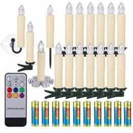 30er LED Weihnachtskerzen RGB Warmweiß mit Halter Set Batterien Fernbedienung Timer, IP64 wasserdichte Kerzen Lichterkette für Auß-Innen Weihnachtsbaum Fenster Garten Geburtstag Party Deko (Beige 30x) - 1