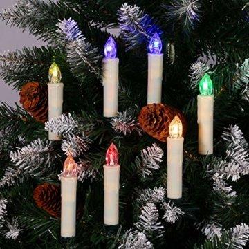 30er LED Weihnachtskerzen RGB Warmweiß mit Halter Set Batterien Fernbedienung Timer, IP64 wasserdichte Kerzen Lichterkette für Auß-Innen Weihnachtsbaum Fenster Garten Geburtstag Party Deko (Beige 30x) - 6