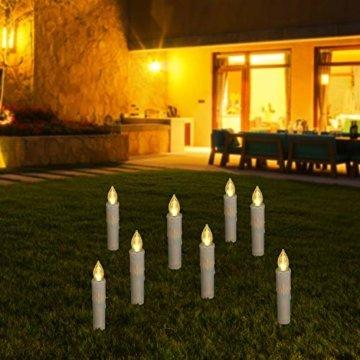 30er LED Weihnachtskerzen RGB Warmweiß mit Halter Set Batterien Fernbedienung Timer, IP64 wasserdichte Kerzen Lichterkette für Auß-Innen Weihnachtsbaum Fenster Garten Geburtstag Party Deko (Beige 30x) - 8