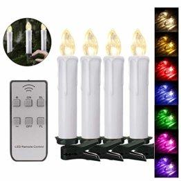 40er Weinachten LED Kerzen Kabellos RGB Weihnachtskerzen Christbaumkerzen Dimmen Flackern Baumkerze-Set,LED-Lichtfarbe RGB + warmweiß - 1