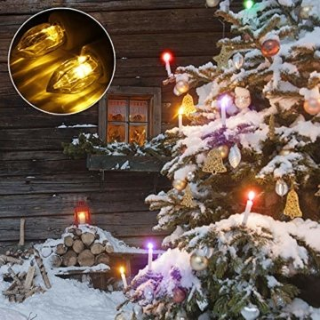 40er Weinachten LED Kerzen Kabellos RGB Weihnachtskerzen Christbaumkerzen Dimmen Flackern Baumkerze-Set,LED-Lichtfarbe RGB + warmweiß - 4