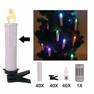 40er Weinachten LED Kerzen Kabellos RGB Weihnachtskerzen Christbaumkerzen Dimmen Flackern Baumkerze-Set,LED-Lichtfarbe RGB + warmweiß - 7