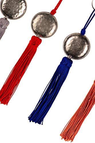 4er Set Orientalische Schlüsselanhänger 18cm (2) | Marokkanische Christbaumschmuck als Dankeschön Geschenke | Quasten mit Schlüsselring als Taschenanhänger Deko Anhänger für Auto Handy Rucksack - 3