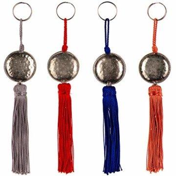4er Set Orientalische Schlüsselanhänger 18cm (2)   Marokkanische Christbaumschmuck als Dankeschön Geschenke   Quasten mit Schlüsselring als Taschenanhänger Deko Anhänger für Auto Handy Rucksack - 1
