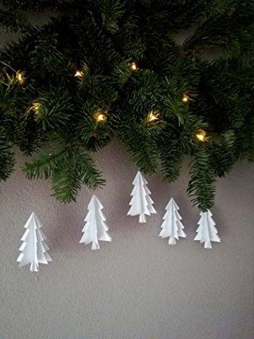 """5er-Set Papierornamente""""Tannenbaum"""" aus wahlweise schwarzem odem weißem Papier/Christbaumschmuck//Fensterdeko//Weihnachtsbaum//Christbaumkugel - 1"""