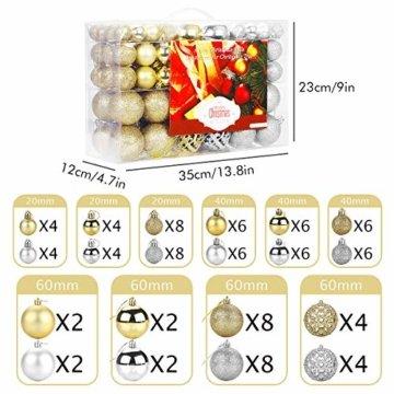 Aitsite Christbaumkugeln Weihnachtskugeln 6CM/4 cm/2 cm Wandbehang Ornamente Weihnachtsbaum Kugeln Flitter Tür Dekorationen Festival Dekore - 2
