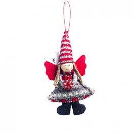 Amosfun entzückende Engel Anhänger Tuch Weihnachtsbaum Dekor Wand Schrank Tür Fenster hängen Ornament Partei liefert (kurzbeinigen gestreiften Hut) - 1